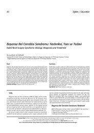 Baflar›s›z Bel Cerrahisi Sendromu: Nedenleri, Tan› ve Tedavi