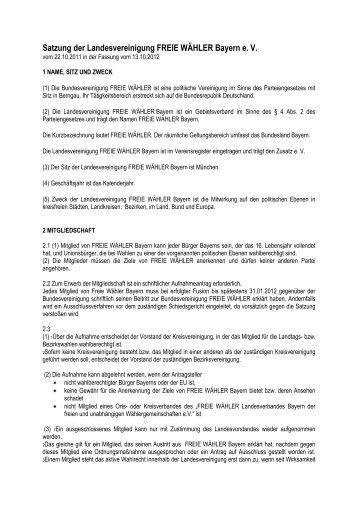 Satzung der Landesvereinigung FREIE WÄHLER Bayern e. V.