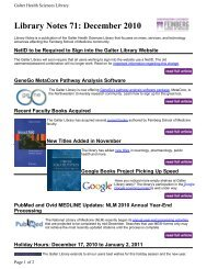 Library Notes 71: December 2010 - Galter Health Sciences Library ...