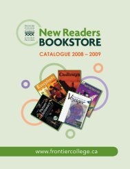 New Readers Bookstore Catalogue 2008-2009 - Frontier College