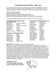 CONFERENCE SUNDAY WORSHIP - Saskatchewan Conference