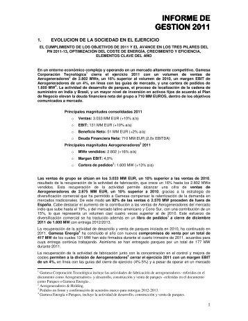 informe de gestión individual - Gamesa