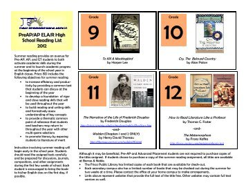 Summer Reading List HS and MS 2012 revised 2-12[1 ... - Frisco ISD