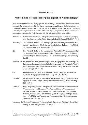 Problem und Methode einer pädagogischen ... - Friedrich Kümmel