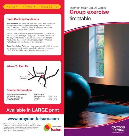 Group exercise timetable - Fusion Lifestyle