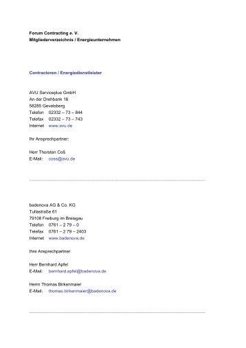Forum Contracting e. V. Mitgliederverzeichnis / Energieunternehmen ...