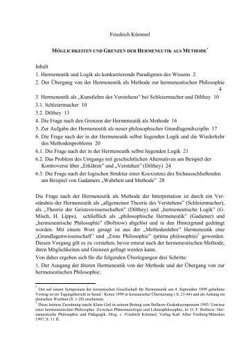 Möglichkeiten und Grenzen der Hermeneutik als ... - Friedrich Kümmel
