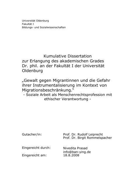 kumulative dissertation oldenburg