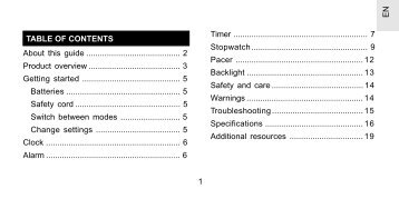 1 EN TABLE OF CONTENTS About this guide ......................................... 2