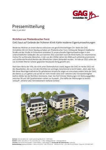 Richtfest am Thielenbrucher Forst (pdf) - GAG Immobilien AG