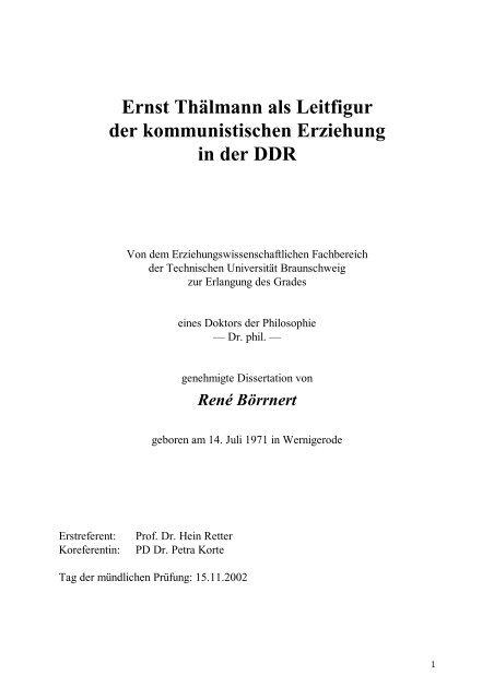 Ernst Thälmann Als Leitfigur Der Kommunistischen Erziehung
