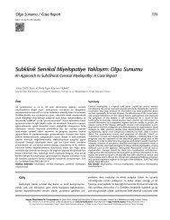 Subklinik Servikal Miyelopatiye Yaklaşım: Olgu Sunumu