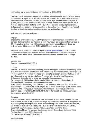 Information sur le jour d'action ou bombodrom, le 01/06/2007 ...