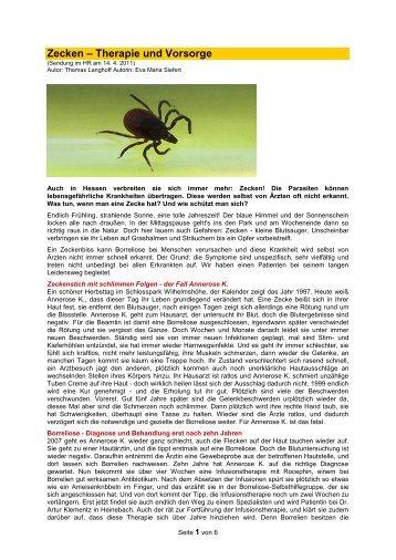Zecken ? Therapie und Vorsorge - Forum-Bioenergetik eV