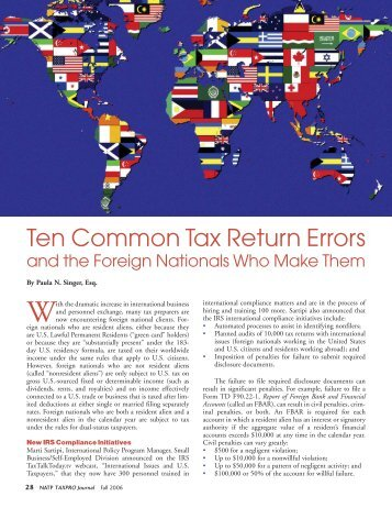 Ten Common Tax Return Errors and the Foreign Nationals Who ...