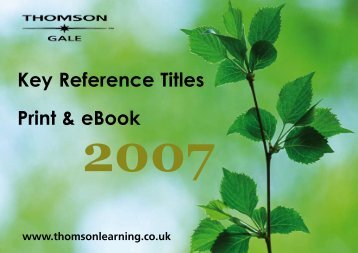 Key Reference Titles Catalogue - Galeuk.com galeuk