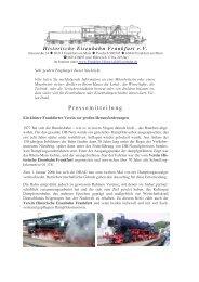 Pressemitteilung - Historische Eisenbahn Frankfurt