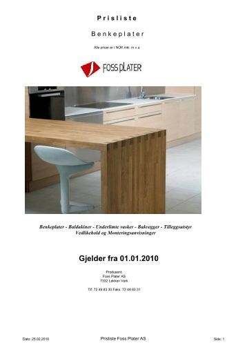 Prisliste Foss 2010-1 - Foss Plater
