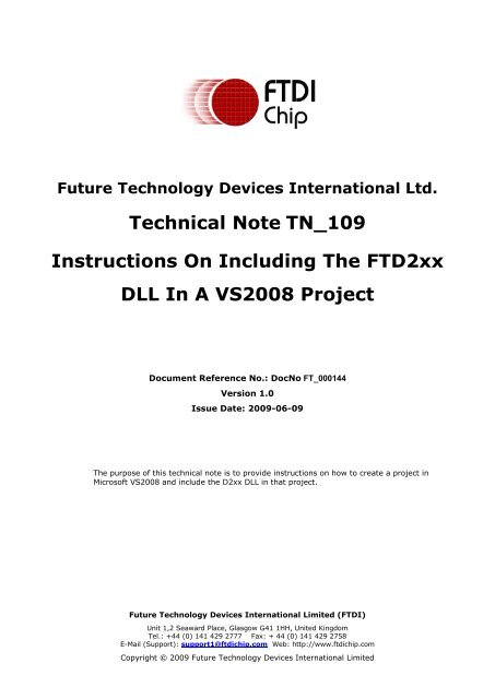 Instructions On Including The FTD2xx DLL In A VS2008 Project