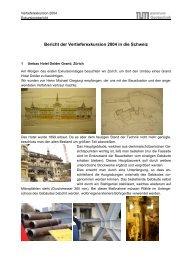 Bericht der Vertieferexkursion 2004 in die Schweiz