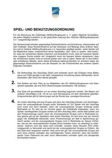 spiel- und benutzungsordnung - Golfclub Altötting-Burghausen