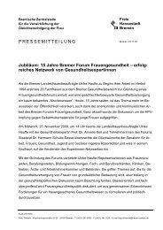 15 Jahre Bremer Forum Frauengesundheit - Bremische Zentralstelle ...