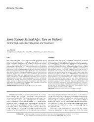 ‹nme Sonras› Santral A¤r›: Tan› ve Tedavisi - FTR Dergisi