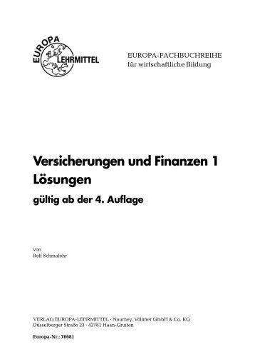 Versicherungen und Finanzen 1 Lösungen gültig ab ... - fs fachbuch