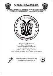 Offizieller Spielplan Saison 11 / 12 - fv paok ludwigsburg
