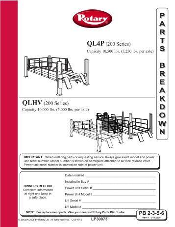 Rotary Sm14 lift Manual