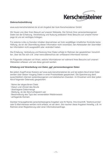 Datenschutzerklärung www.auto-kerschensteiner.de ist ein Angebot ...