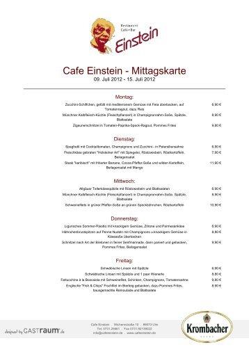 Cafe Einstein - Mittagskarte - GastRaum