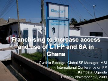 Social Franchising - International Conference on Family Planning
