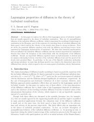 Lagrangian properties of diffusion in the theory of turbulent combustion