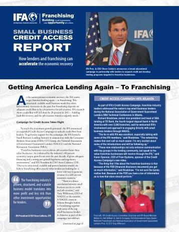 IFA Credit Access Report - International Franchise Association