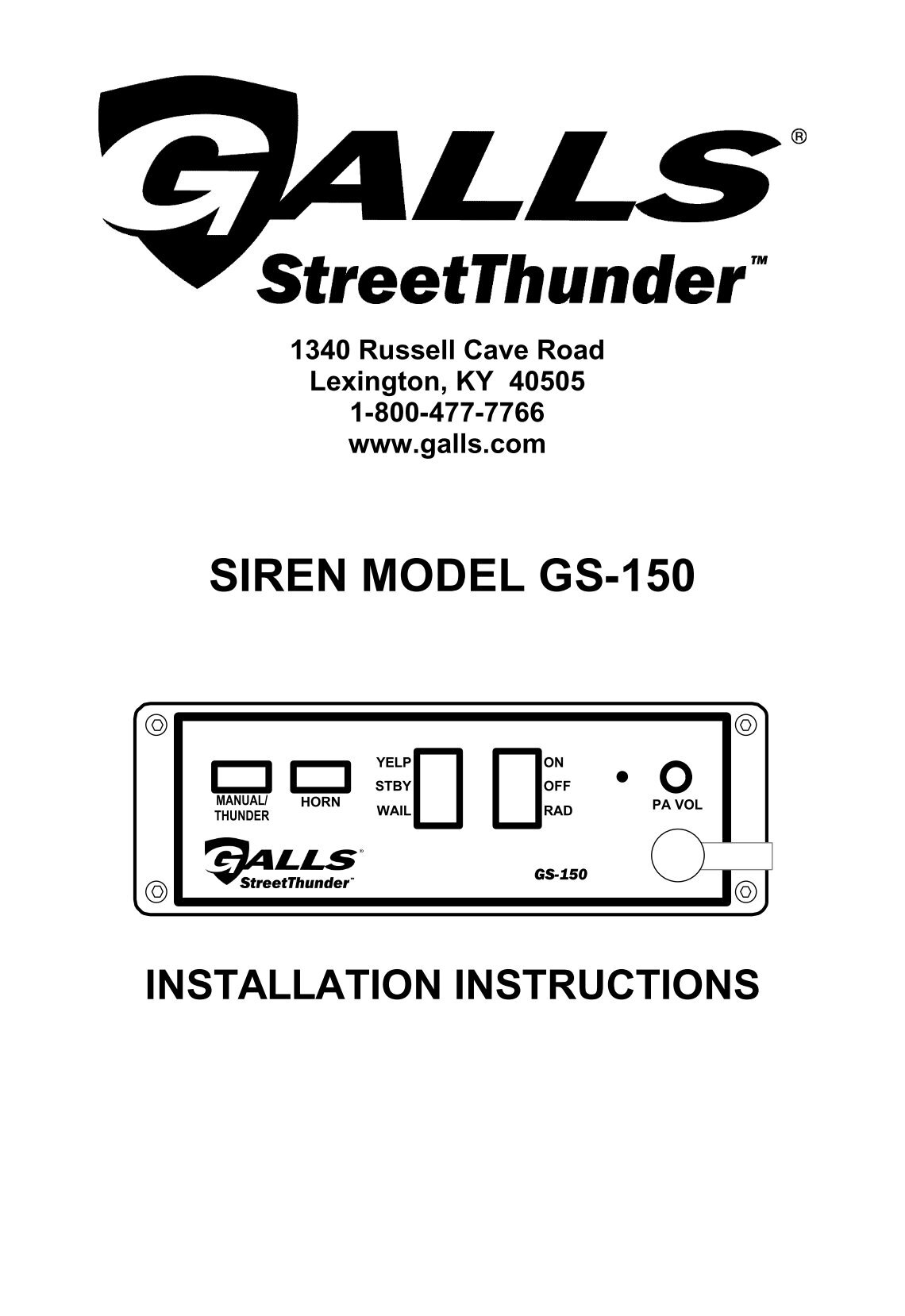 Galls Street Thunder St110 Wiring Diagram Lightning Siren Integrated Diagrams On