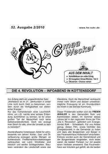 52. Ausgabe 2/2010 - FREIE WÄHLER in der Gemeinde Rohr