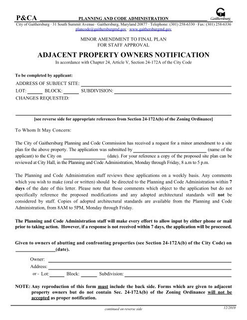 Adjacent Property Owners Notification - City of Gaithersburg