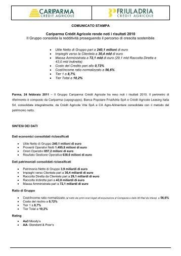 Scarica il comunicato stampa in PDF - Cariparma