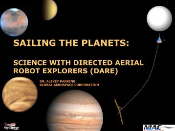 sailing the planets: science with directed aerial robot explorers \(dare\)
