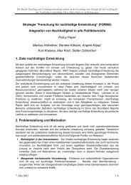 Integration von Nachhaltigkeit in alle Politikbereiche - FORNE ...