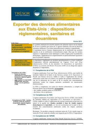 Exporter des denrées alimentaires aux Etats-Unis : dispositins ...