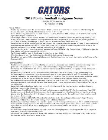 2012 Florida Football Postgame Notes - GatorZone.com