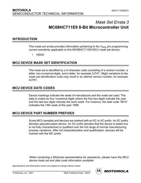 Mask Set Errata 3 MC68HC711E9 8-Bit Microcontroller