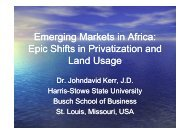 Emerging Markets in Africa: Epic Shifts in Privatization and ... - CASA