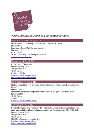 Veranstaltungskalender Juli bis September 2013 - Frauenportal Essen