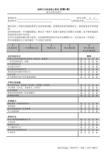 Revised Cambridge Behavioural Inventory (CBI-R)