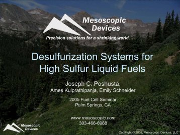 Desulfurization Systems for High Sulfur Liquid ... - Fuel Cell Markets