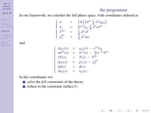 QFT on quantum spacetime: a compatible classical framework (Tux ...