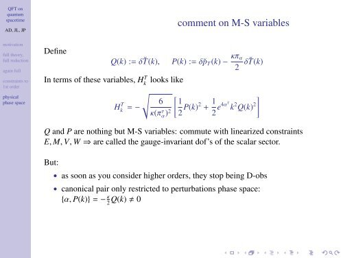 QFT on quantum spacetime: a compatible classical framework (Tux ...